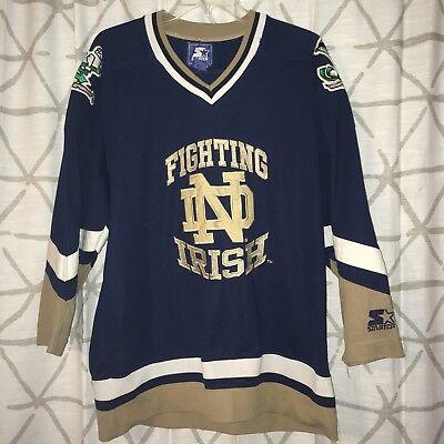 low priced 536b4 bb948 Vintage Rare Notre Dame Fighting Irish Navy Blue Starter NCAA Hockey Jersey  XL   eBay