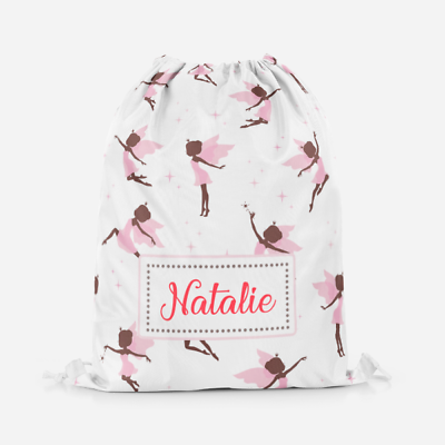 Personalised Princess Fairy Girls Kids Drawstring PE Bag Swimming School Bag