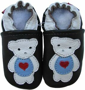 carozoo polar bear black 18-24m soft sole leather baby shoes