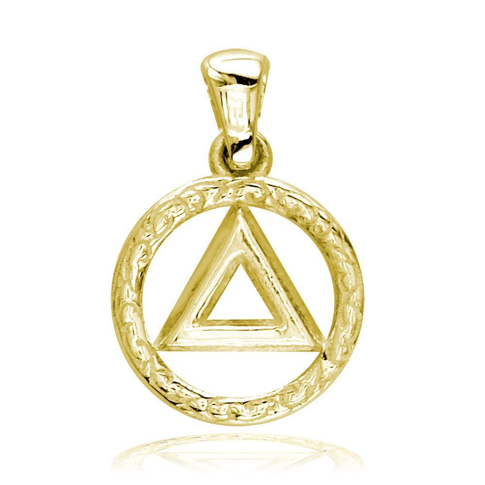 Small AA Alcoholics Anonymous Sobriety Charm with Tribal Designs in 14K Yellow G