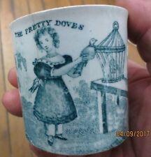 ANTIQUE MUSEUM QUALITY 1793 TRANSFERWARE DAVENPORT CHILD MUG CUP GREEN