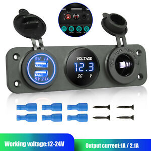 S8003-JS 3 Gang Blue LED Car Boat RV Toggle Switch Panel USB Charger with Fuse