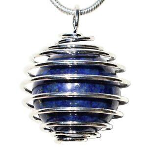 CHARGED-Lapis-Lazuli-16mm-Sphere-Pendant-20-034-Silver-Chain-amp-Selenite-Heart