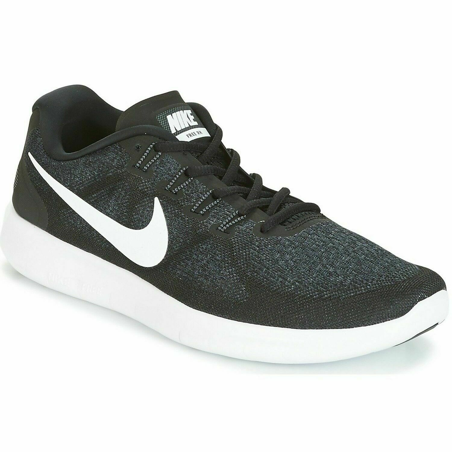 NIKE MEN'S  FREE RN 2017 BLACK WHITE Running Trainers 880839 001 Size 14