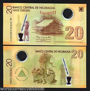 NICARAGUA 20 Cordoba NEW 2007 x 20 Pcs Lot 1/5 FLAG HUT WOMAN POLYMER UNC NOTE