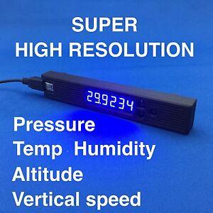 6-chiffres Précis Baromètre Thermomètre Hygromètre Altimètre Del Bleu Câble Usb-afficher Le Titre D'origine