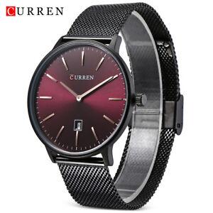 CURREN-Quartz-Watch-Date-Display-Stainless-Steel-Band-Ultra-Thin-Wristwatch-Mens