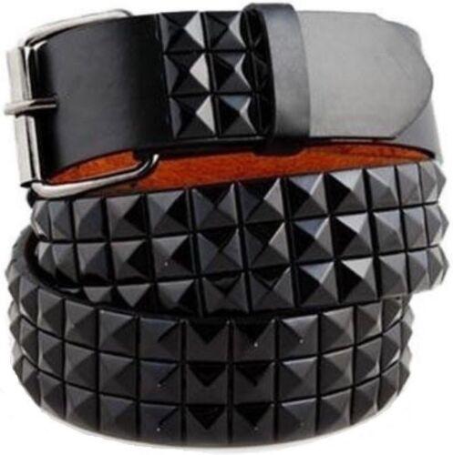 Unisex 3-Rows Metal Pyramid Studded Leather Belt Mens Womens Punk Rock Goth Emo