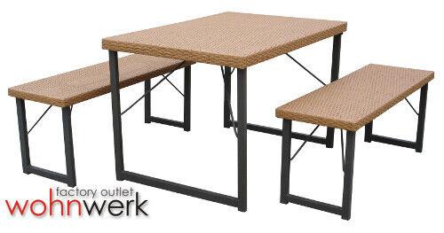 Bierzeltgarnitur aus PE Poly Rattan Garnitur 1 Tisch 2 Bänke