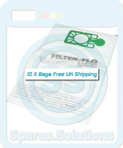 10 x NVM-2BH Filter-Flo Synthetic Dust Bags For Numatic GVE370-2