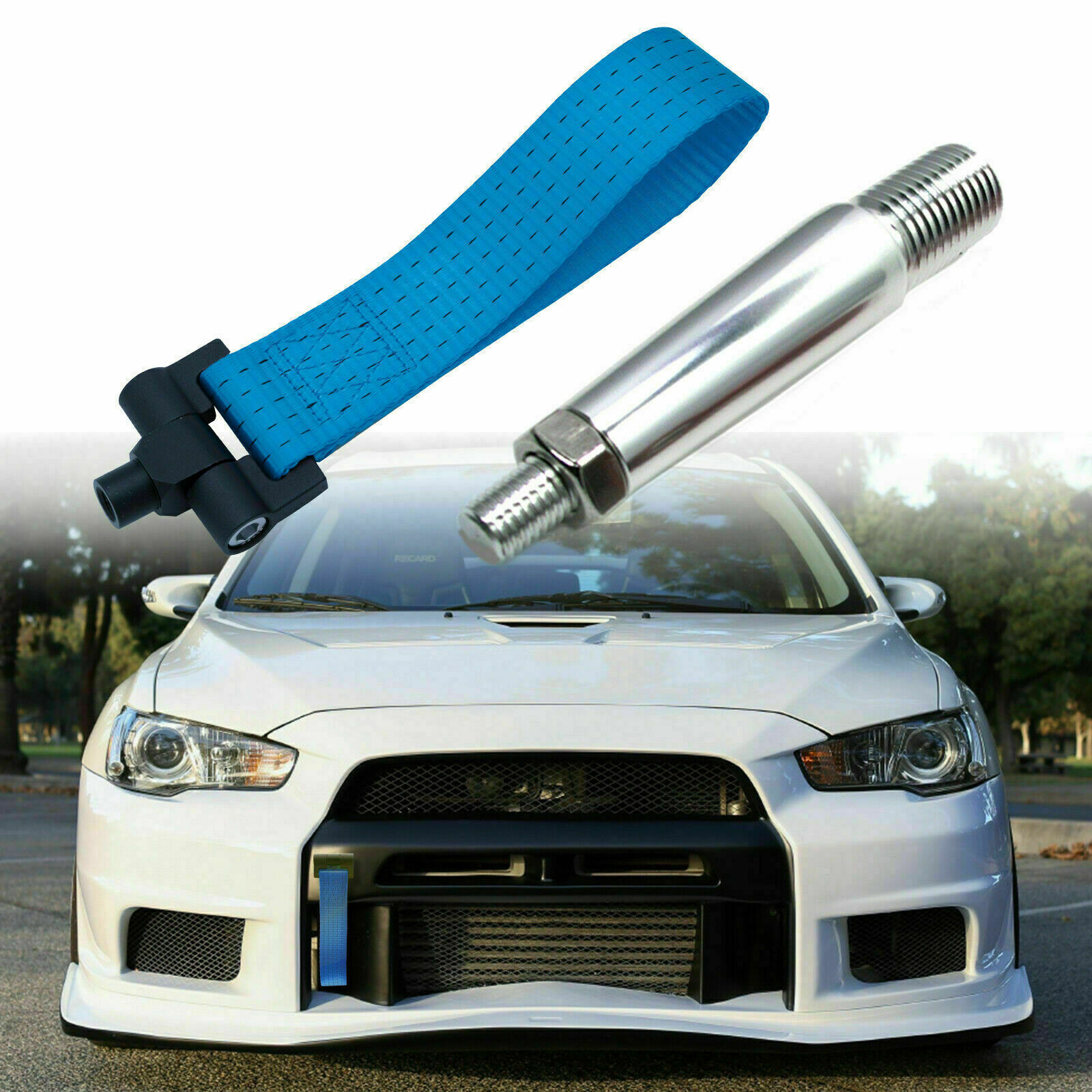 iJDMTOY Blue Track Racing Style Tow Hook Ring Compatible With 2008-2016 Mitsubishi Lancer Evolution Evo X 10 CZ4A Made of Lightweight Aluminum