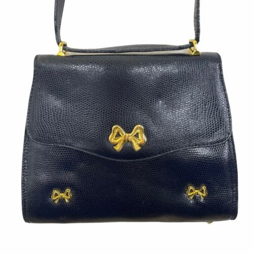 ARNOLD SCAASI NAVY LIZARD LEATHER WITH BOWS WOMEN… - image 1