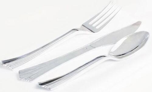 54 solide en plastique Set de Couverts Couteau Fourchette Cuillère Buffet Barbecue party argent chromé