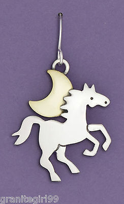Midnight Run Horse Moon Earrings 925 Sterling Silver Far Fetched Artisan Taxco