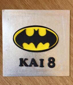Edible Handmade Sugarpaste Batman Logo Badge Personalised Birthday Cake Topper Cake Toppers