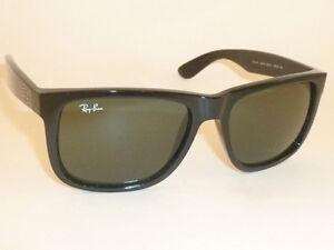 New RAY BAN Justin Sunglasses Shiny Black Frame RB 4165 601 71 Green ... 019c5f026425