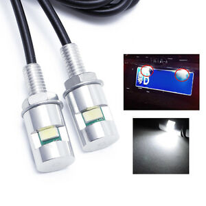 NEW-2X-Car-Motorcycle-White-SMD-Light-Lamp-LED-License-Plate-Stud-Screw-Bolt