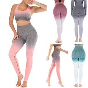 2ccd78209dd6d2 Women's Ombre Athletic Gym Yoga Trousers Stretch Leggings Sport High ...
