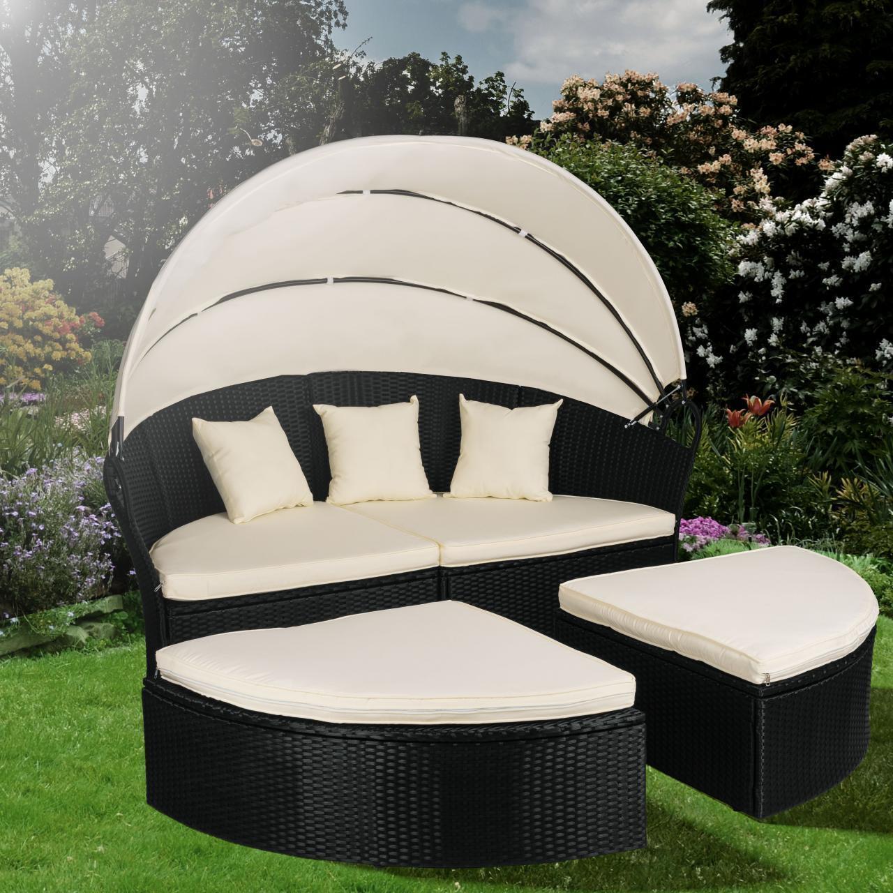Polyrattan Sonneninsel Sonnenliege Gartenmöbel Gartenmöbel