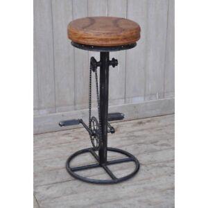 Sgabello tondo bar pub cucina stile industrial riciclo pedali ...