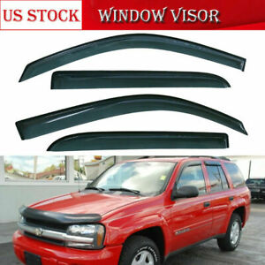 4x Window Visors Vent Sun Rain Guards Shield for Chevrolet Trailblazer 2002-2009