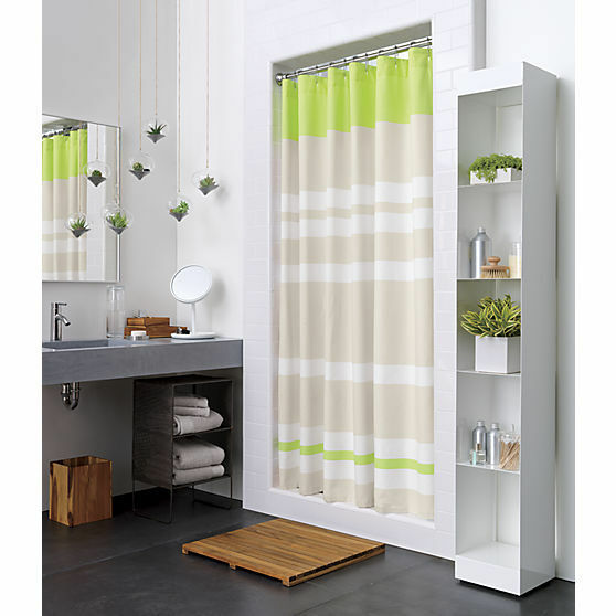 Crate And Barrel Cb2 LIVELY SHOWER CURTAIN NIP Sour Apple White