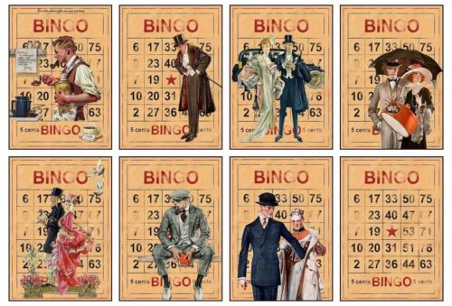 Vintage Bingo Glossy Finish Card Toppers Craft Embellishment