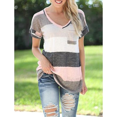 Women Summer Short Sleeve T-shirt Loose Irregular Striped V Neck Tops Plus Size