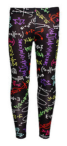 Nina-Infantil-Divertido-Multi-Matematicas-Formula-Escuela-leggings-estampados