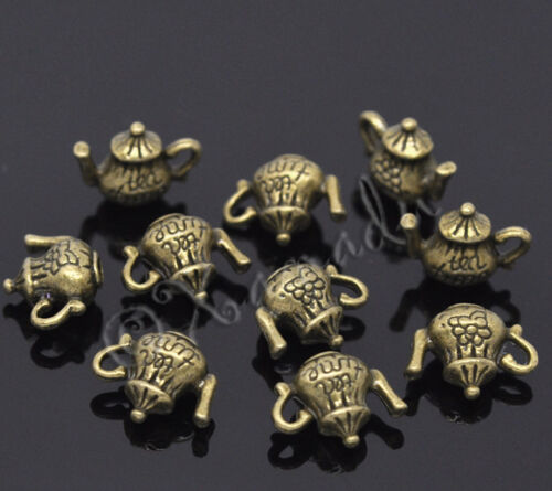 20PCs 10 Tea Time Wholesale 3D Teapot Antiqued Bronze Charm Pendants C3270-5