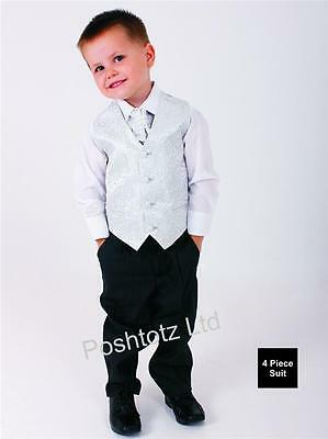 Boys Suit  4 piece Black and Silver Swirl Suits Wedding, Pageboy , Prom