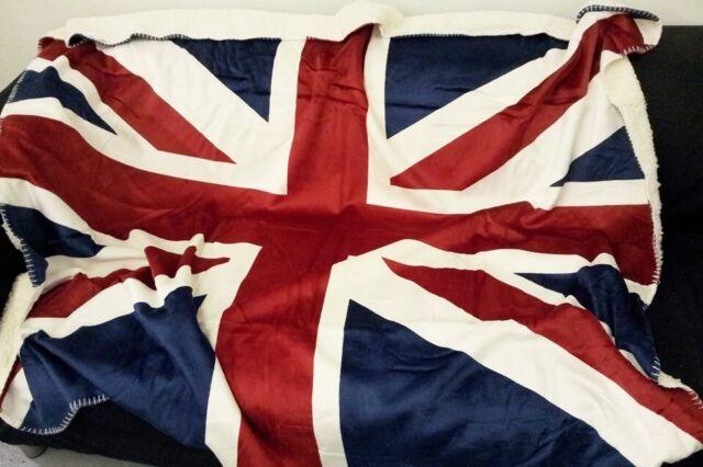 Nuovo Qualità Union Jack Bandiera Rosso Bianco Blu Simil Sherpha Coperta in Pile