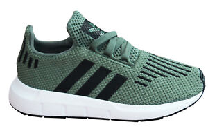 4836d8fb1aa12 Adidas Originals Swift Run I Kids Trainers Green Textile Lace Up ...