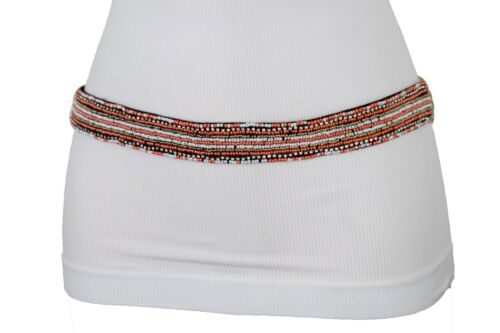 Fun Women Elastic Hippy Fashion High Waist Hip Coral White Beads Skinny Band S M