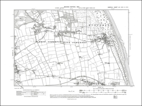 Martham Hemsby West Somerton Norfolk in 1907: 54NW repro Old map Winterton