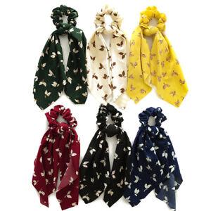 Women-Ribbon-Hair-Ties-Long-Scarfs-Tree-Leaf-Streamers-Scrunchies-Bow-Hair-Ropes