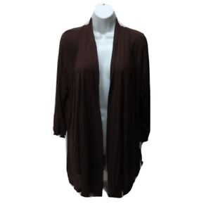 AB-Studio-NWT-Womens-XL-Open-Front-Top-Cardigan-Long-Sleeve-Coverup-Shrug-Brown