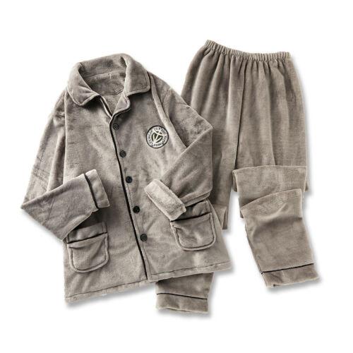 Herren Bestickte Dick Flanell Pyjama Winter Samt Warm 2-teilig Schlafanzug Lang