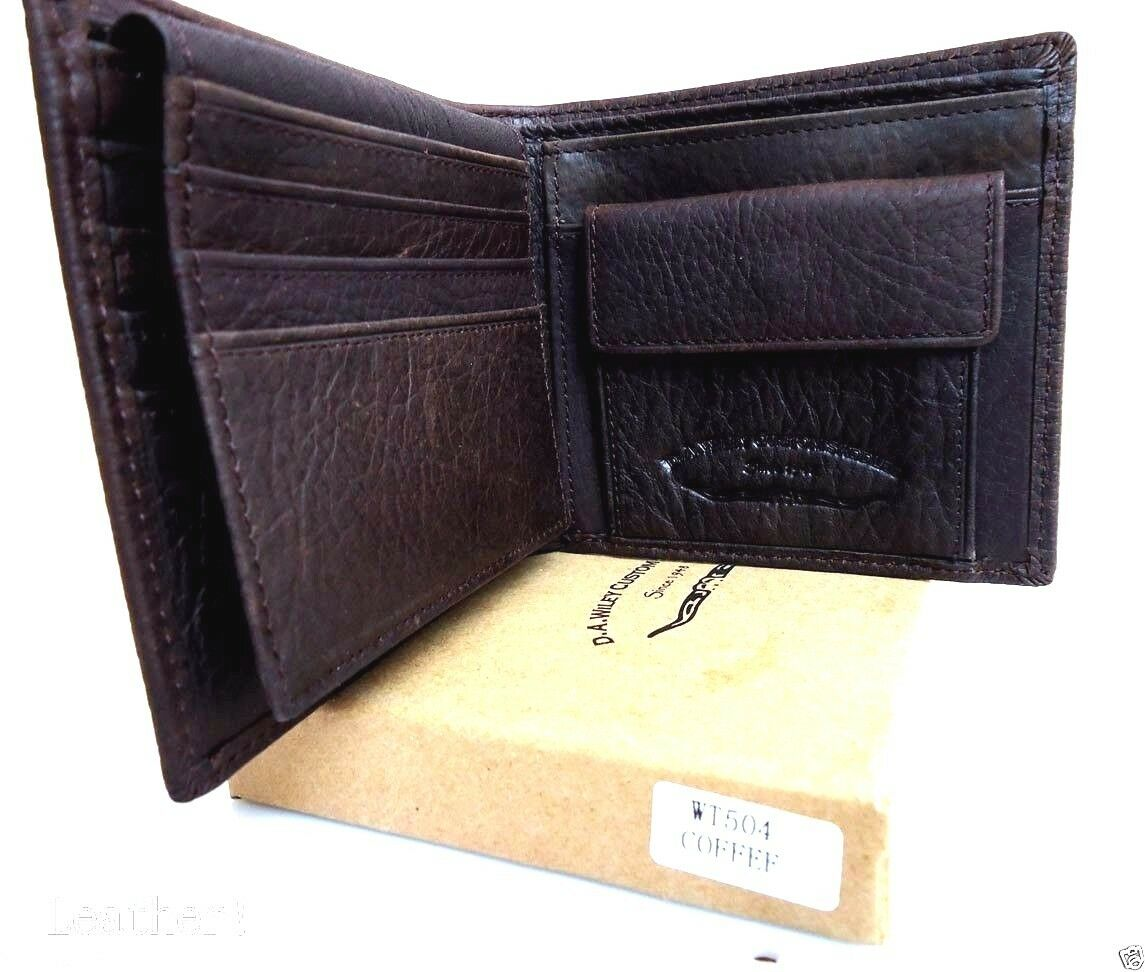 Men/'s Leather Wallet Credit Card Slots id Window Bill Compartmen​ts Slim brown m