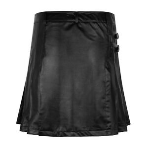 Faux-Leather-Mens-Gladiator-Pleated-Wrap-Skirt-Utility-Kilt-Costumes-Halloween