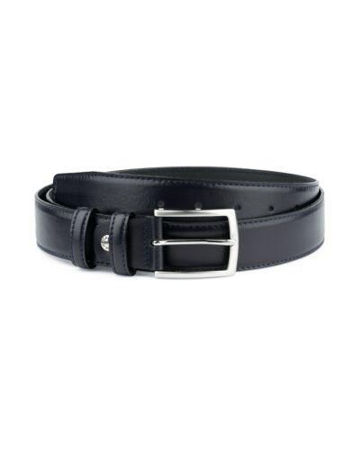 """Navy blue Leather belt Mens belts Smooth calfskin Nappa Formal Dress 1 3//8/"""""""