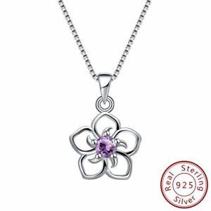 Echt-925-Silber-Blume-Anhaenger-Lila-Blau-Rot-Blendend-Zirkonia-Schmuck-Damen-Neu