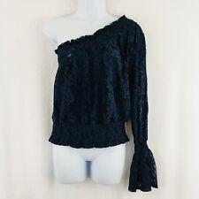 3baf5bdb4651bf Bold Elements One Shoulder Top Size Medium Long Sleeve Blue Floral Lace