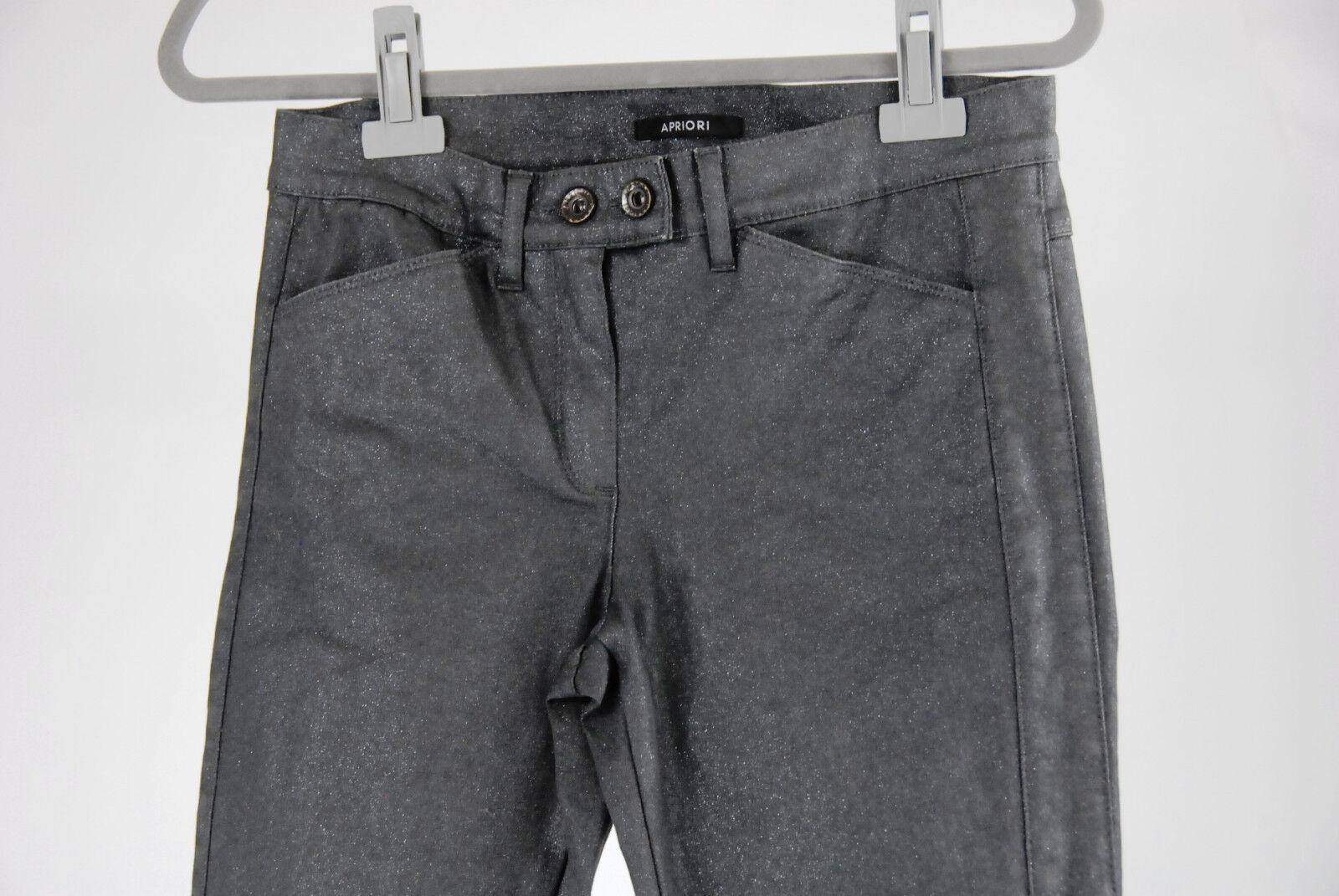 Apriori Jeans Grigio 38 Skinny GLITTER Cotone Cotone Cotone Pantaloni Pants Elastan Nuovo Etichetta M. cc7f98