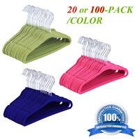 Wholesale 100pcs Flocked Non-slip Shoulder Velvet Hangers Kids' Clothes Hanger