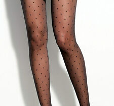 Vintage English Made Sheer Black Polka-dot Spot Dotty Spotty Stockings Sz 11