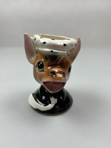 Vintage Horse Donkey Head Succulent Planter Ceramic Tie Hat Small