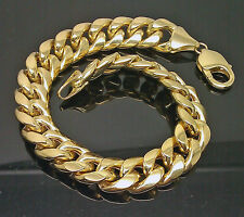 10K Men's Yellow Gold Thick Miami Cuban Bracelet 11mm, 9 Inches Long #A27B9