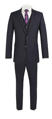 Attento Scott Da Uomo Premium Classic Fit Navy 3 Pezzi Combinazione Vestito-mostra Il Titolo Originale Texture Chiara