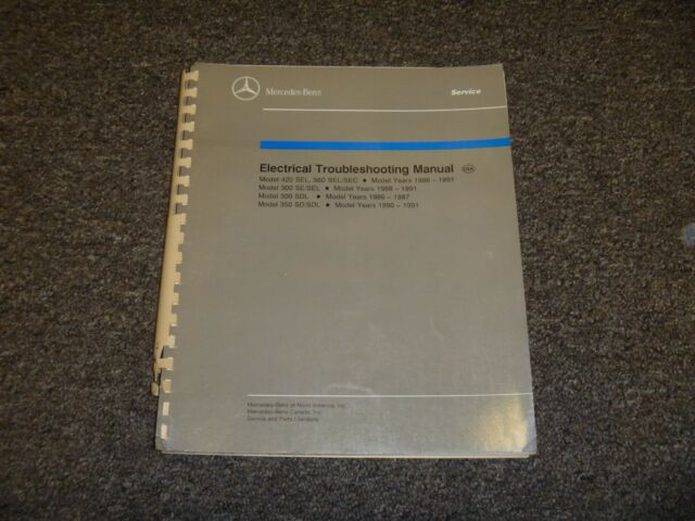 1986 1987 Mercedes Benz 420sel 560sel 560sec Electrical Wiring Diagram Manual
